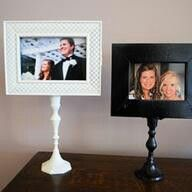Picture frame on candle sticks. Pretty display can be used in table centerpieces