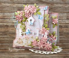 Klaudia/Kszp, Step card with flowers bridge, bird, butterflies Fancy Fold Cards, Folded Cards, Center Step Cards, Side Step Card, Tarjetas Pop Up, Shabby Chic Cards, Scrapbook Cards, Scrapbooking, Shaped Cards