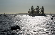 Sail training ship Mir, start of Funchal 500 Race, near Falmouth, Great Britain