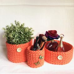 Hand made crochet baskets from recycled T-shirt yarn. They go fantastic with any sort of interior in the bedroom, hallway or even the bathroom. You can store your make up brushes, childrens knickknacks or even use it as a decorative plant pot. They will look amazing in any home and add a