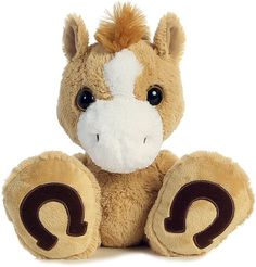 Butterscotch Horse Taddle Toes Plush Animal by Aurora (Front View)