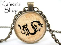 Dragon Necklace Dragon Symbol Necklace Pendant by KaiserinShop