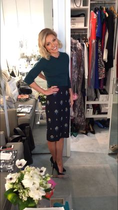 Kelly Ripa in a green cashmere long sleeve sweater and sparkly skirt from J Crew. LIVE with Kelly and Michael Fashion Finder