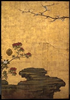 japaneseaesthetics:Attibuted to Kano Sansetsu, The Old Plum, Edo PEriod (1615-1868), ca 1645, Japan. four sliding door panels (fusuma), ink, colour, gold leaf on paper, The Metropolitian Museum of Art