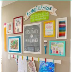 One of my favorite spots in my house! A place for the kids to display their artwork! Inspire creativity!!! It's on the blog! Just search kids wall!