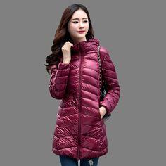 Flash Sale $26.26, Buy Women Winter Coat 2017 New 90% White Duck Down Jackets Slim Hooded Long Down Coat Portable Plus Size Ultra Light Down Parkas