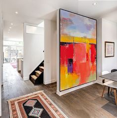Handmade Extra Large Contemporary Painting, Huge Abstract Canvas Art, Original Artwork by Leo. Hand paint. White, yellow, red, gray, blue.
