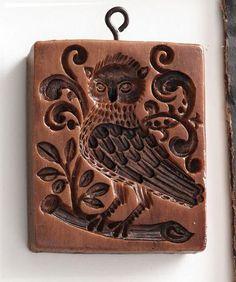 """Baroque Owl"" ~ Springerle Cookie Mold"