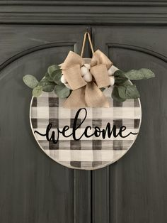 Welcome Door Hanger Buffalo Plaid Door Hanger Round Door
