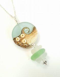 Sea Glass Necklace In Genuine Sea Foam Seaglass With Wave