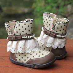 Cute Little Junior Girls Kids Polka Dot Lace Dress Boots Discount SKU-133109