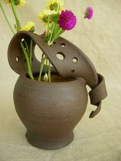 Ceramic Wild Flower Vase in Sun Yellow and by clayshapergallery  Isn't this wonderful!