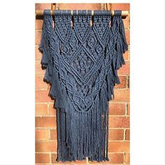 Ready to go off to it's new home, this design is made using the softest luxe cotton from @marymakerstudio in denim. Such a joy to make #macrame #modernmacrame #macramemaker #macramewallhanging #marymakerstudio #farmlife #francleedesigns