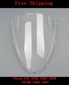 [Visit to Buy] For Kawasaki Ninja 636 ZX6R 2005 - 2008 ZX10R 2006 - 2007 Double bubble motorcycle White windshield windscreen ZX-6R ZX-10R #Advertisement