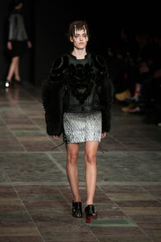 1. Anne Sofie Madsen, Winter 2013 - Modern devant-de-gorge on shoulders, resembling flat rosettes.