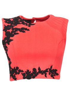 Pink crop top with black floral detailing available only at Pernia's Pop-Up Shop.
