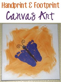 How to Make Handprint {and Footprint} Canvas Art! ~ at TheFrugalGirls.com {SO many fun ideas... these would make great gifts, too!}