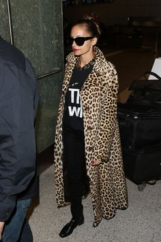 A leopard coat will take an otherwise casual look up in elevation with you.  Getty Images  - ELLE.com