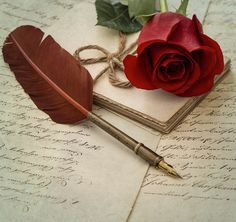 Old love letters, rose flower and antique feather pen. Please look here for more Valentines Day pictures: Book Flowers, Red Flowers, Red Roses, Valentines Day Messages, Valentines Day Pictures, Jesus E Maria, Penne, Beautiful Rose Flowers, Old Letters
