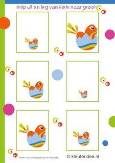 Leg de nestjes van klein naar groot, trek een lijn naar de dobbelstenen, kleuteridee.nl , thema lente voor kleuters,draw a line to the dice,...