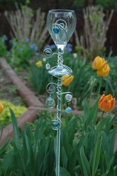 Garden Tealight holder from an old wine glass
