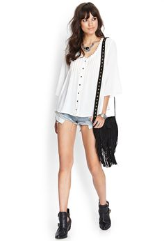 Pleated Crochet Peasant Top | FOREVER21