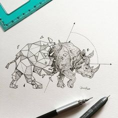Delicated and beautiful doodles by Kerby Rosanes, aka Sketchy Stories, an illustrator based in the Philippines, who likes to combine wild animals and explosions of geometric shapes into beautiful black and white creations. Geometric Drawing, Geometric Shapes, Geometric Animal, Geometric Tattoo Rhino, Mandala Anti Stress, Rhino Tattoo, Petit Tattoo, Tattoo Sticker, Rhinoceros