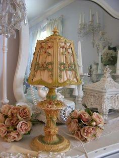 Vintage Metal Barbola Rose Lamp w Fabric Shade