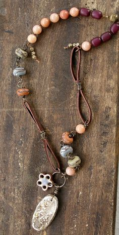 Great use of different beads & metal - Mix of Leather, Rosary, Stringing, etc - Lorelei Eurto Necklace