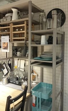 Boring IVAR ? Not with trend colour ! Paint it grey. Want this in my kitchen...