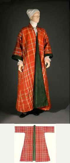 Man's tartan or plaid gown, 1770-1810, Great Britain.Loose T-shaped gown of hard-surface worsted wool and silk, woven in plaid or tartan pattern in colors of red, yellow, grey-blue (crossing red to appear purple), cream, and black, lined with deep green heavyweight silk twill. Without fasteners, has straight sleeves, and full skirts. The lining has striped patterning caused by a change of color in the weft. Colonial Williamsburg Collections