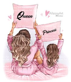Mother And Daughter Drawing, Daughter Love, Princess Illustration, Very Nice Images, Textile Logo, Unique Paintings, Christmas Mom, Mommy And Me, Queen