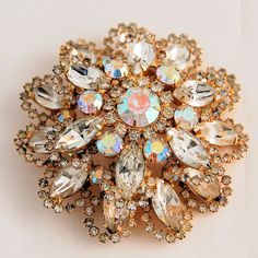 Vintage Aurora Borealis Rhinestone Cushion Brooch or Pin ~ from Antik Avenue on Ruby Lane