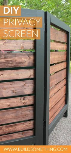 DIY Privacy Screen   Free printable plans with how-to steps, tools and materials list, cutting list and diagram.   Learn how to easily make this attractive modern privacy screen, perfect to hide unsightly outdoor garbage cans, recycling bins, air conditioning units or other panels. You could even build a series of screens to bring more privacy to a yard or deck space!
