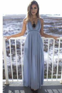 The perfect beach sage maxi dress features a tie halter neck and lining Material is Rayon Model Addi is 5'6 wearing a small Bust Length Small 12 57 Medium 13 58