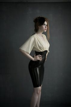 Latex Blouse and Pencil Skirt By Jacqueline Marie Couture