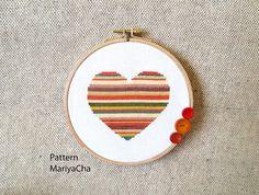 Heart cross stitch pattern Needlepoint by LaMariaCha on Etsy