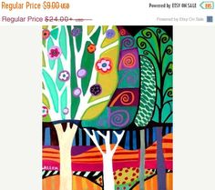 INSTANT DOWNLOAD Southwestern Tree Art - Modern Landscape Poster Print of painting by Heather Galler (ID981)