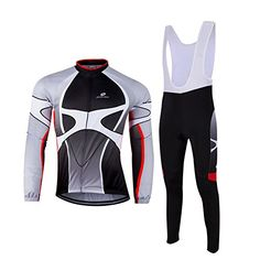 ZEROBIKE Mens Outdoor Breathable Sports Long Sleeve Cycling Jersey and 3D Padded Braces Tights Bib Pants Set >>> Check out this great product.Note:It is affiliate link to Amazon.