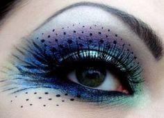 Pretty Peacock make up!! Good idea for Holloween!