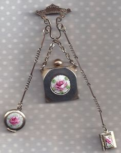 Vintage GUILLOCHE Enamel CHATELAINE Pin for French DOLL or for You ! :)