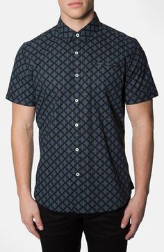 7 Diamonds 'Cold Nites' Trim Short Sleeve Print Woven Shirt available at #Nordstrom