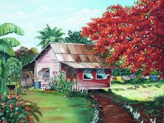 Tobago Country House Painting by Karin  Dawn Kelshall- Best