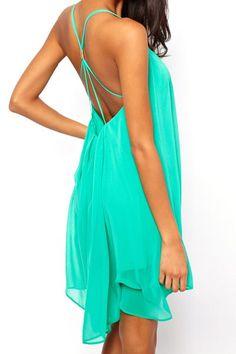 $8.89 Sexy Women's Spaghetti Strap Solid Color Backless Chiffon Dress