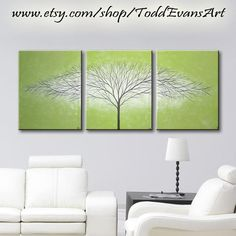 48x20 Inches, Olive Green, Original 3 piece Set, Canvas Large Wall Art Tree Painting Trees, Triptych Wall decor art paintings by ToddEvansArt, $100.00