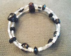 Black & White Glass Bracelet by LaurelMoonCreations on Etsy, $7.99