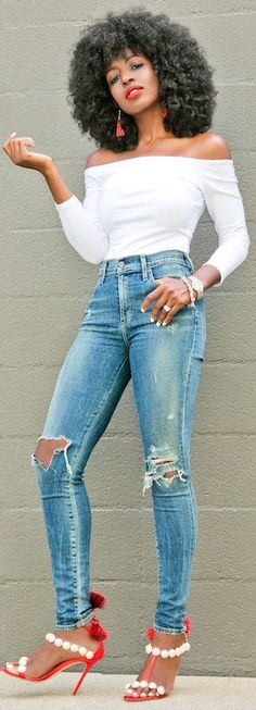 Off Shoulder ¾ Sleeve Tee + Distressed High Waist Jeans // Fashion Look by Style Pantry