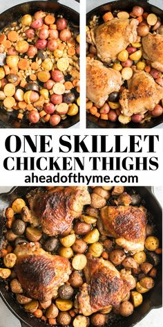 Tender, juicy, and crispy one pan skillet chicken thighs and potatoes and carrots is an easy weeknight dinner on your dinner table in less than 45 minutes. | aheadofthyme.com #chicken #chickenthighs #skilletchicken #chickendinner One Pan Chicken, Stuffed Whole Chicken, How To Cook Chicken, Easy One Pot Meals, Easy Weeknight Dinners, Skillet Chicken Thighs, Creamy Cauliflower, Winner Winner Chicken Dinner, Butternut Squash Soup