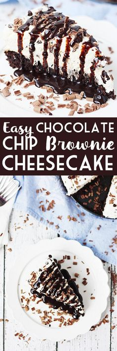 Easy Chocolate Chip Brownie Cheesecake -- Make this easy chocolate chip brownie cheesecake at your next party and you'll be the favorite. Brownie mix plus a simple cheesecake topping come together for a truly delightful dessert!   halfscratched.com #recipe #dessert #cheesecake