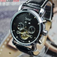 Multifunction Automatic Jaragar Watch J206 – Male Stainless Steel Skeleton Auto Mechanical Watches Leather Wristwatch.